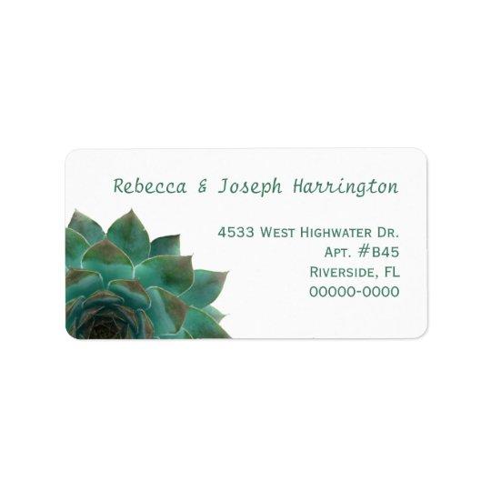 Dark Green Succulents Custom Address Labels