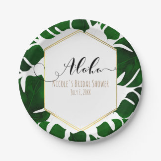 Dark Green Tropical Leaves White & Gold Wedding Paper Plate