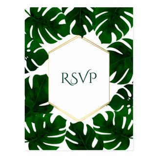 Dark Green Tropical Leaves White Gold Wedding RSVP Postcard