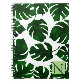 Dark Green Tropical Palm Leaves Summer Botanical Notebook