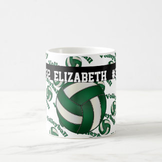 Dark Green Volleyball | Personalize Coffee Mug