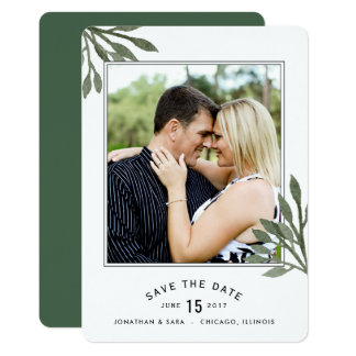 Dark Green Watercolor Leaves Save The Date Card