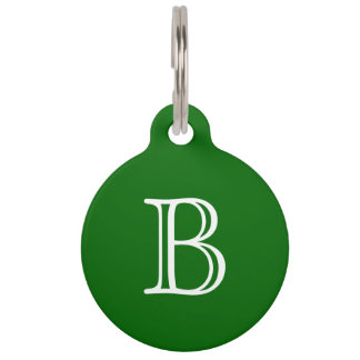 Dark Green White Monogram Initial Name Simple Pet Name Tag