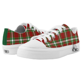 Dark Green White Red Cool Lumberjack Plaid Pattern Printed Shoes