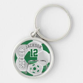 Dark Green & White Team Soccer Ball Key Ring