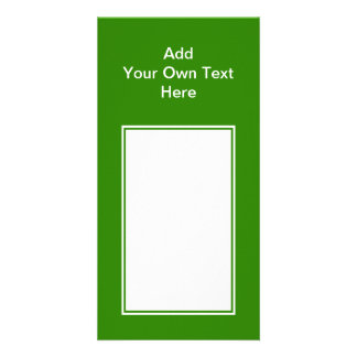 Dark green with white area and text. photo greeting card