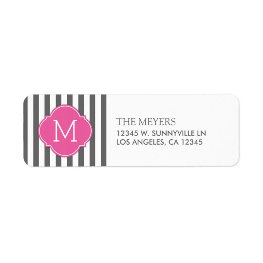 Dark Grey and White Modern Stripes with Monogram Return Address Label