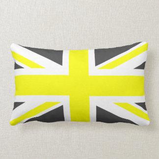 Dark Grey and Yellow Union Jack Lumbar Pillow