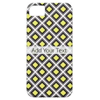 Dark Grey, Black, Yellow Ikat Diamonds by STaylor Barely There iPhone 5 Case