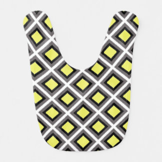 Dark Grey, Black, Yellow Ikat Diamonds by STaylor Bib