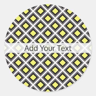 Dark Grey, Black, Yellow Ikat Diamonds by STaylor Classic Round Sticker