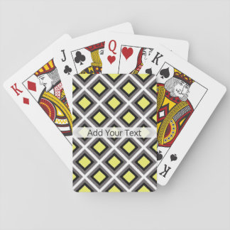Dark Grey, Black, Yellow Ikat Diamonds by STaylor Playing Cards