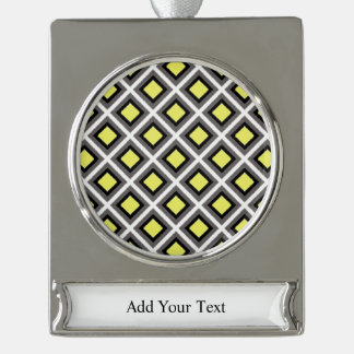 Dark Grey, Black, Yellow Ikat Diamonds Silver Plated Banner Ornament