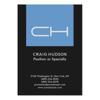 Dark Grey Blue Monogram Professional Business Card