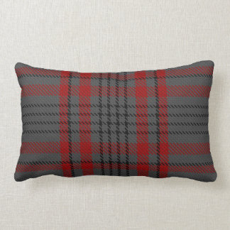 Dark Grey Charcoal Black Red Tartan Plaid Lumbar Pillow