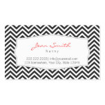Dark Grey Chevron Stripes Nanny Business Card