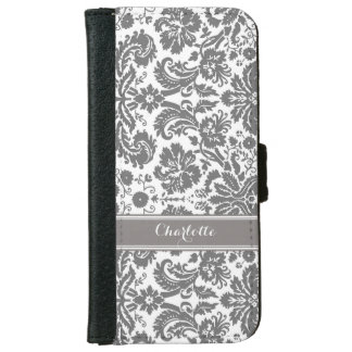 Dark Grey Damask Pattern Monogram iPhone 6 Wallet Case