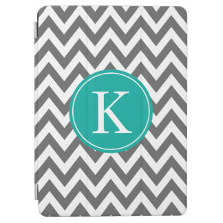 Dark Grey Jade Chevron Pattern Custom Monogram iPad Air Cover