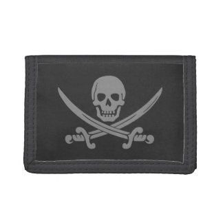Dark Grey Jolly Roger Tri-fold Wallet