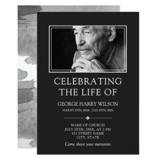 Dark Grey Minimalist - Photo - Celebration of Life Card