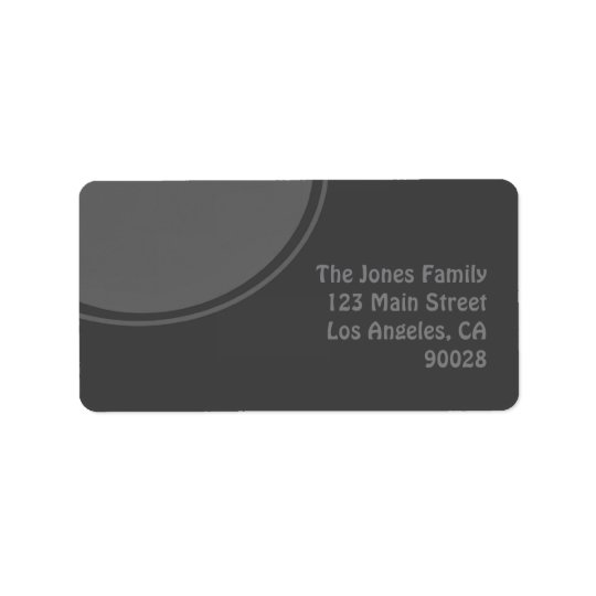 Dark Grey Mod Circle Address Label