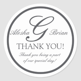 Dark Grey Monogram G Wedding Favour Stickers