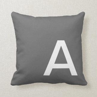 Dark Grey Monogrammed Throw Pillows