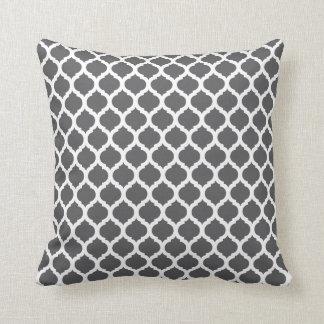Dark Grey Moroccan Pattern Throw Pillows