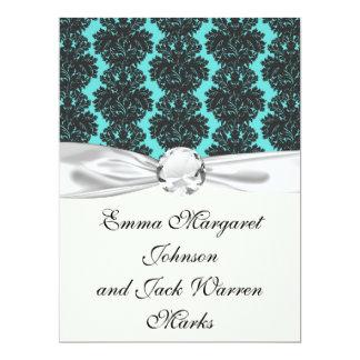dark grey on aqua blue flourish damask pattern personalized invitations