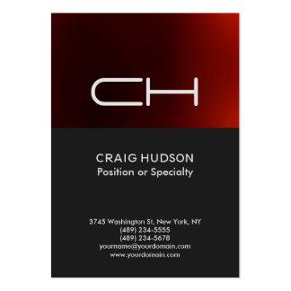 Dark Grey Red Monogram Professional Business Card