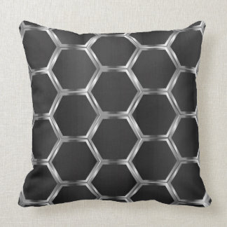 Dark-Grey & Silver Octagons Pattern Throw Pillow
