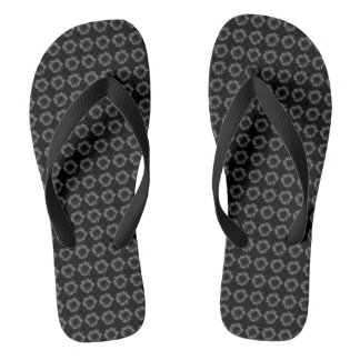 Dark Grey Sunflower Motif on Thongs