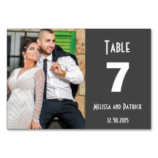 Dark Grey Table Custom Wedding Table Card