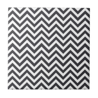 Dark Grey & White Zigzag Pattern Small Square Tile