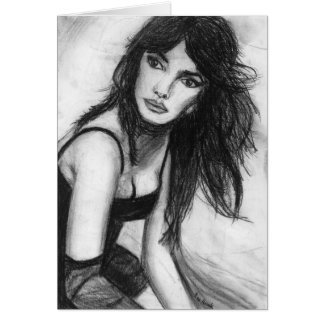 Dark Haired Beauty Greeting Card