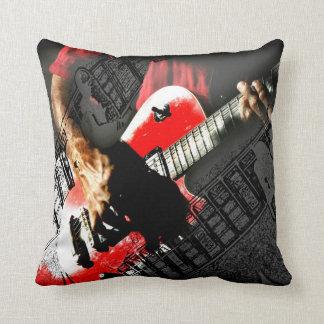 Dark hands guitar layered red image cushion