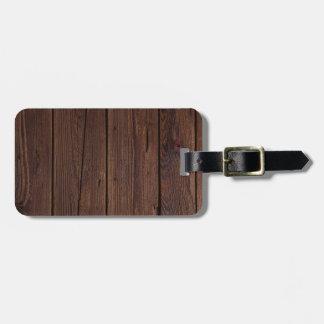 Dark hardwood imitation luggage tag