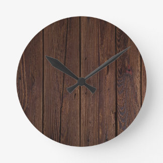 Dark hardwood imitation round clock