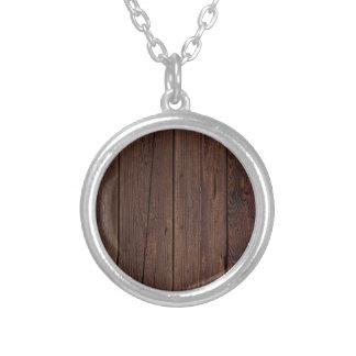 Dark hardwood imitation silver plated necklace