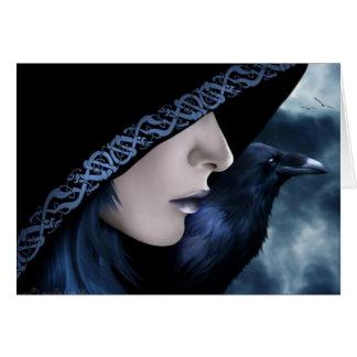 Dark Hooded Raven Card