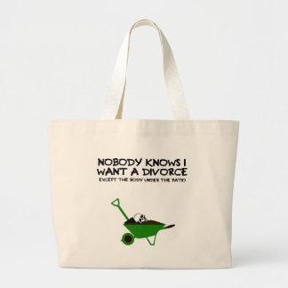 Dark humour divorce tote bag