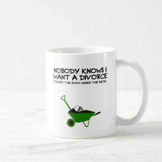 Dark humour divorce basic white mug