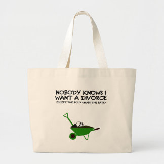 Dark humour divorce jumbo tote bag