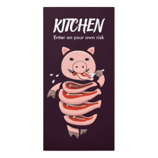 Dark Hungry Self Eating Cut In Steaks Pig Kitchen Door Sign