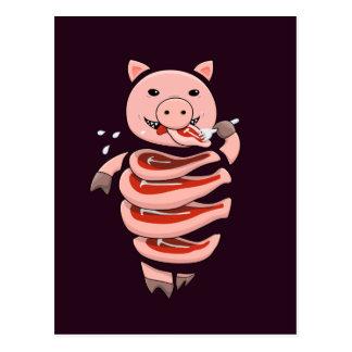 Dark Hungry Self Eating Cut In Steaks Pig Postcard