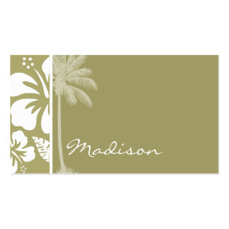 Dark Khaki Tropical Hibiscus; Palm Double-Sided Standard Business Cards (Pack Of 100)