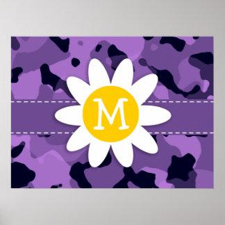 Dark Lavender Camo; Daisy Print