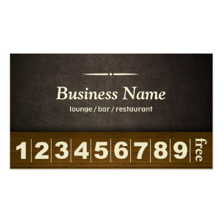 Dark Leather Lounge Bar Business Loyalty Card Business Card Template