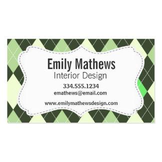 Dark & Light Green Argyle Pattern Business Card