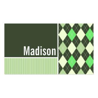 Dark & Light Green Argyle Pattern Business Cards